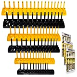 Socket Organizer Trays - 6 Piece Socket Tray Set Black SAE & Yellow Metric | 1/4-Inch, 3/8-Inch & 1/2-Inch Drive Socket Holder | Premium Quality Tool Organizers
