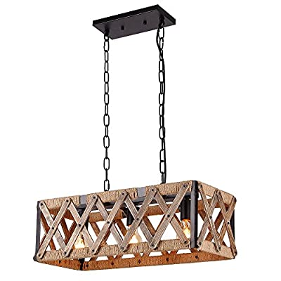 Anmytek Square Metal and Wood Chandelier Basked Pendant Three Lights Oil Black Finishing Rope Net Lamp Shade Retro Vintage Industrial Rustic Ceiling Lamp Caged Light