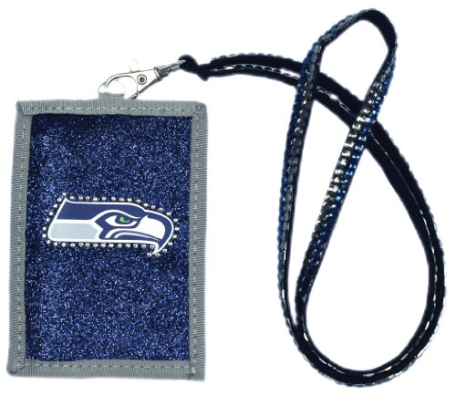 NFL Seattle Seahawks Beaded Lanyard with Nylon Wallet
