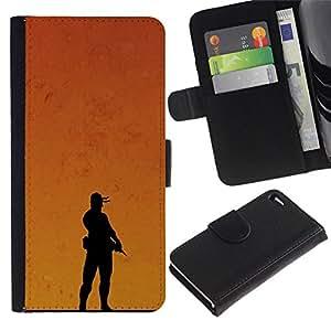 All Phone Most Case / Oferta Especial Cáscara Funda de cuero Monedero Cubierta de proteccion Caso / Wallet Case for Apple Iphone 4 / 4S // Sunset Soldier