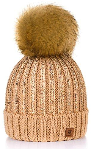 4sold Beanies Pompom One Color mujer Size para de punto Lady Beanie Light Beige y al por mayor Felt Circle Winter Gold r5ZxOr6q
