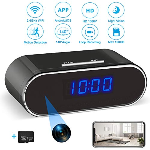 Hidden Spy Camera Clock with 32GB SD Card, 1080P WiFi Spy Camera Wireless Hidden Security Camera Nanny Cam with Night Vision and Motion Detection for Home Office