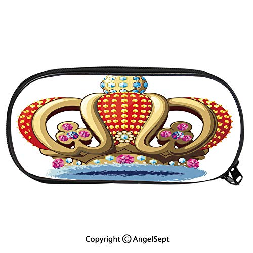 2127D Printing Pattern Pencil CaseRoyal Family Nobility Crown with Colorful Ornaments Image for Sovereign Print Decorative for Children Teenager Pen Box Pencil Pouch Desk for Boys and GirlsRed Blue a City Park Kids Student Desk