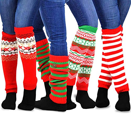 TeeHee Gift Box Women's Fashion Leg Warmers 4-Pack Assorted Colors (Christmas Candy Cane)