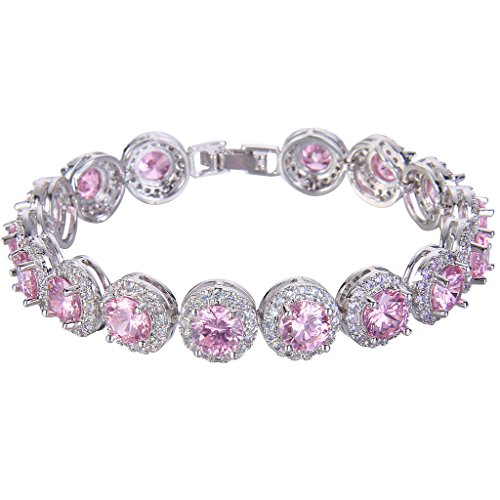 EVER FAITH Silver-Tone Round Cubic Zirconia October Birthstone Roman Tennis Bracelet Tourmaline Color (Zirconia Cubic Pink Bracelet)