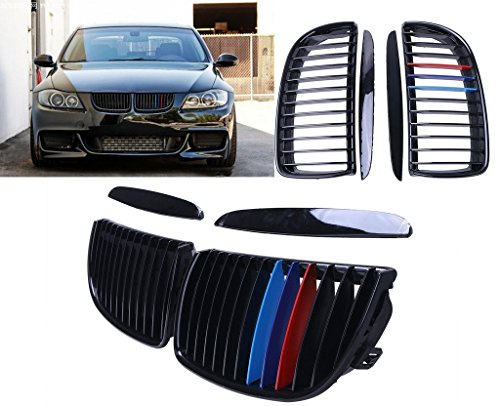 Colors 2005 Bmw (Kawayee 2pcs Gloss Black M-color Front Kidney Grille For 2005-2008 BMW E90 E91 4D Sedan Touring)