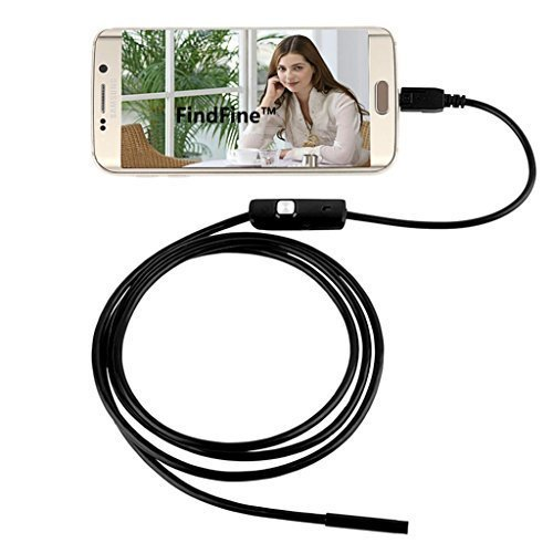 FindFine 5m 16.4FT cable Android Smartphone USB Endoscope Inspection Camera 5.5mm Diameter Ultra Slim 6 LEDs HD IP67 Waterproof Snake Borescope Mini USB Inspection Camera
