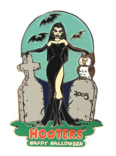 Hooters Halloween Cemetery Tombstone Girl with Hootie Owl & Bats Lapel Pin ()