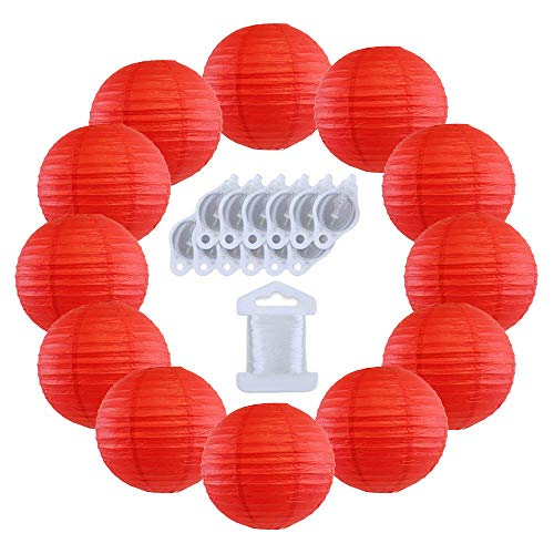 Red Paper Lanterns - Just Artifacts 12inch Decorative Round Chinese Paper Lanterns 10pcs w/ 12pc LED Lights and Clear String (Color: Red)