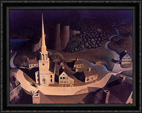 The Midnight Ride of Paul Revere 36x28 Large Black Ornate Wood Framed Canvas Art by Grant Wood - Grant Wood Wall