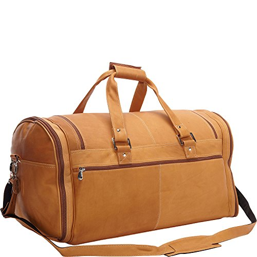 David King Vaquetta Leather Deluxe Extra Large Multi Pocket Duffel in Tan