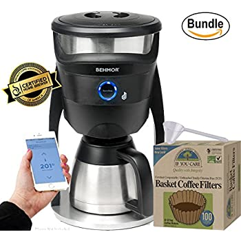 Behmor Connected Temperature Control Coffee Maker, If You Care Coffee Filter Baskets ( 1x100 CT ) & Zonoz One-Tablespoon Plastic Clever Scoop (Bundle)