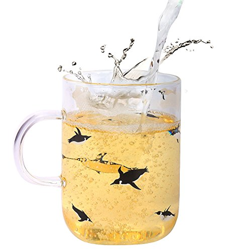 Fecihor Large Glass Mug With Handle Cute Cup with Penguin Print - Perfect Cup for Tea & Coffee - 500ml/17.5oz - Set of 1