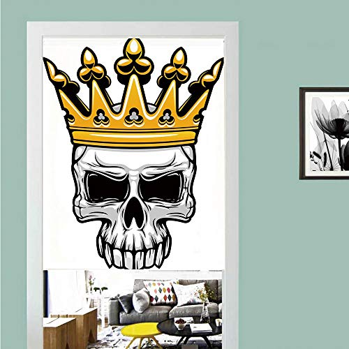 3D printed Magic Stickers Door Curtain,King,Hand Drawn Crowned Skull Cranium with Coronet Tiara Halloween Themed Image Decorative,Golden and Light Grey ,Privacy Protect for Kitchen,Bathroom,Bedroom(1