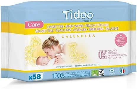 Pack 6 Toallitas Compostable Caléndula Bio Tidoo, 6x58 uds: Amazon ...