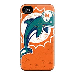 Durable Hard Phone Cover For Iphone 4/4s With Support Your Personal Customized Nice Miami Dolphins Series DannyLCHEUNG