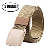 ALAIX Nylon Canvas Breathable Military Tactical Mens Waist Nylon Belt Double Plastic Buckle Khaki