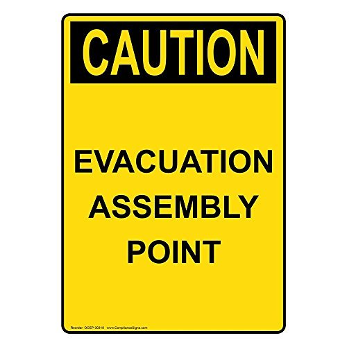 Evacuation Assembly - Osha Caution Evacuation Assembly Point Yellow Metal Sign Aluminum Signs 10X14 Inch