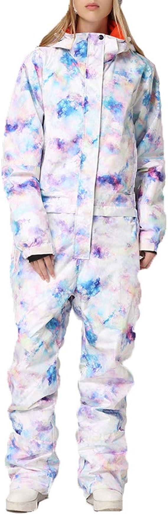 SUNNSEAN Damen Snowboard Skisuit Einteiliger Ski-Overall Hoodie Winter Warme Winddicht Wasserdicht mit Kapuze /& Handschuhe Schnee Skianz/üge Outdoor Sports Schneeanzug Ski Anzug mit Rei/ßverschluss
