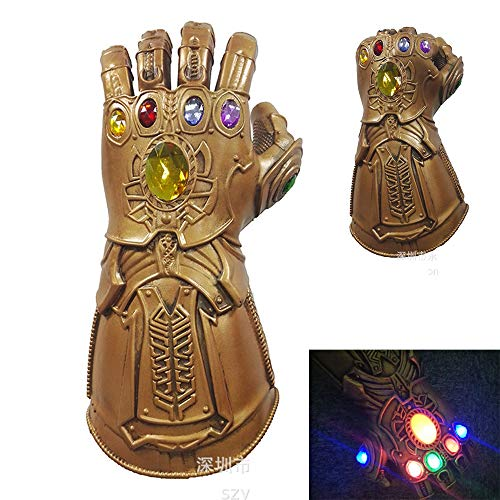 Gauntlets Latex - Child Adult Cosplay The Avengers Thanos Gauntlet, with LED Light Latex Infinity Gloves Halloween Party Props (Fit for Adult) Gold