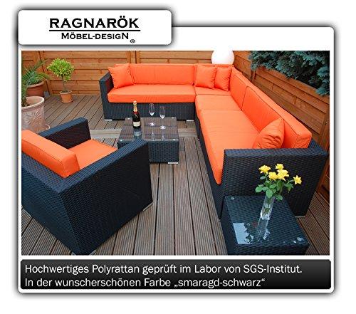 PolyRattan Lounge DEUTSCHE MARKE -- EIGNENE PRODUKTION 7 Jahre GARANTIE Garten Möbel incl. Glas und Polster Ragnarök-Möbeldesign (schwarz) Gartenmöbel