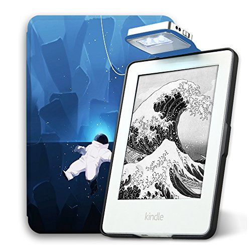 Young Me All New Kindle E-reader Rechargeable Led Light and Auto Wake/Sleep and Hand Strap Leather Cover/Case for Kindle 2016 6 inch 8th generation( Not Fit Kindle Paperwhite) Cute Astronaut ()