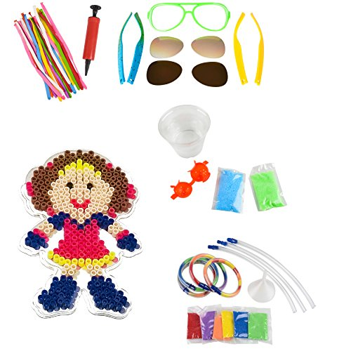 DIY Crafts Kit for Boys & Girls / Camp / Vacation / Activity Bundle incl. (5) Fun Kits - Make Your Own Ball, Sunglasses, Sand Bracelet, Bead Art + 50 Balloon Animals (w. incl. Pump) -