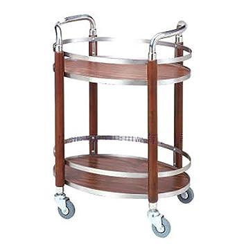 Carro de servicio Carrito de te Carro de almacenamiento de cocina Estructura ovalada de acero inoxidable