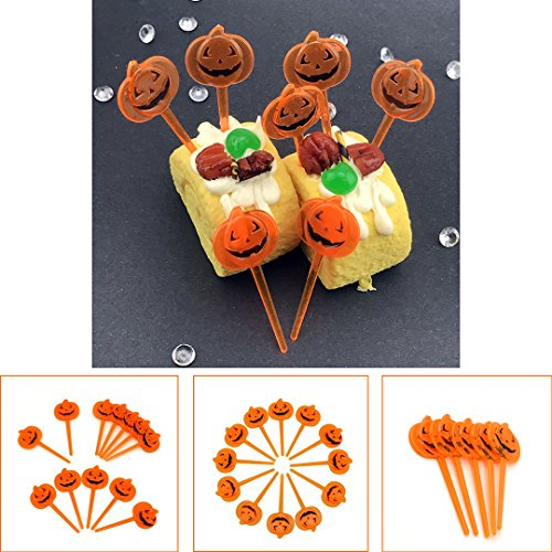 Adorox 12 Pcs Halloween Plastic Small Orange Pumpkin Party Cupcake Pick Toppers (12 (Twelve Cupcakes Halloween)