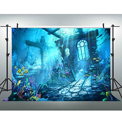Undersea Backdrop 10x7ft Seabed Ruins Photography Background Mermaid Party Decorations Baby Shower Photo Backdrop -