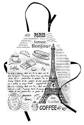 Ambesonne Paris Apron, Traditional Famous Parisian Elements Bonjour Croissan Coffee Eiffel Tower Print, Unisex Kitchen Bib Apron with Adjustable Neck for Cooking Baking Gardening, Black White