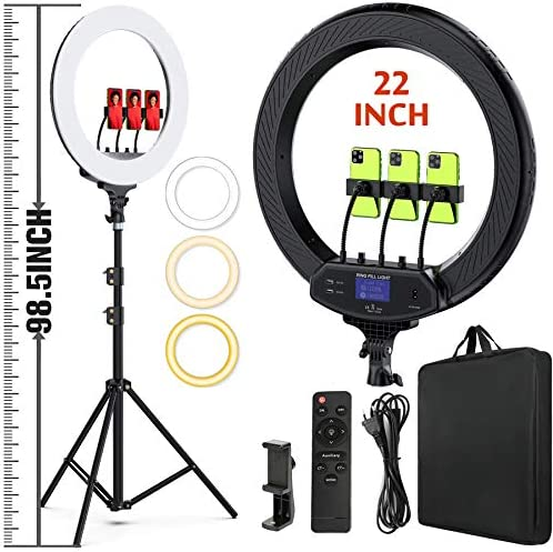 "22"" LED Ring Light, with 75"" Tripod/LCD Display/Wireless Remote, Adjustable 2500K-8500K Color Temperature, for YouTube Facebook Live TikTok Video Recording Vlo,Light for Video Conferencing"