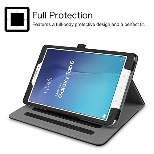 Fintie Case for Samsung Galaxy Tab E 9.6, [Corner Protection] Multi-Angle Viewing Stand Cover with Packet for Tab E Wi-Fi/Tab E Nook/Tab E Verizon 9.6-Inch Tablet, Black