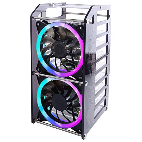 GeeekPi Raspberry Pi Cluster Case, Raspberry Pi Rack Case Stackable Case with Cooling Fan 120mm RGB LED 5V Fan for Raspberry Pi 4B/3B+/3B/2B/B+ and Jetson Nano (8-Layers)