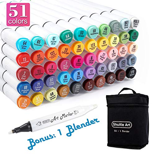 Shuttle Art 51 Colors Dual Tip Alcohol Based Art Markers