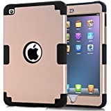 iPad mini 4 Case, iPad mini 4 Retina Case, Easytop Anti-slip Shock-absorption Silicone Inner Bumper High Impact Resistant Hybrid Three Layer Protective Cover Case for iPad mini 4 (Gold + Black)