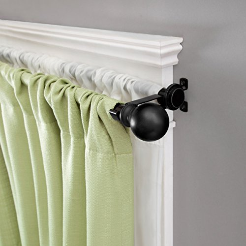 Kenney Ball End Double Window Curtain Rod, 66 to 120-Inch, Matte Black