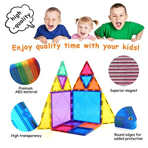 Children Hub 100pcs Magnetic Tiles Set - Educational 3D Magnet Building Blocks - Building Construction Toys for Kids - Upgraded Version with Strong Magnets - Creativity, Imagination, Inspiration by Children Hub (Image #5)