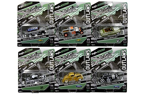 New 1:64 Maisto Outlaws Collection - Max Grundy Release 1 Assortment Set of 6pcs Diecast Model Car By Maisto 1950 Mercury Coupe