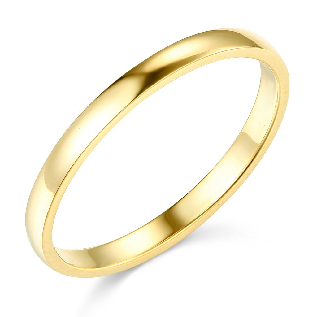 14k Yellow Gold 2mm SOLID COMFORT FIT Plain Wedding Band - Size 6