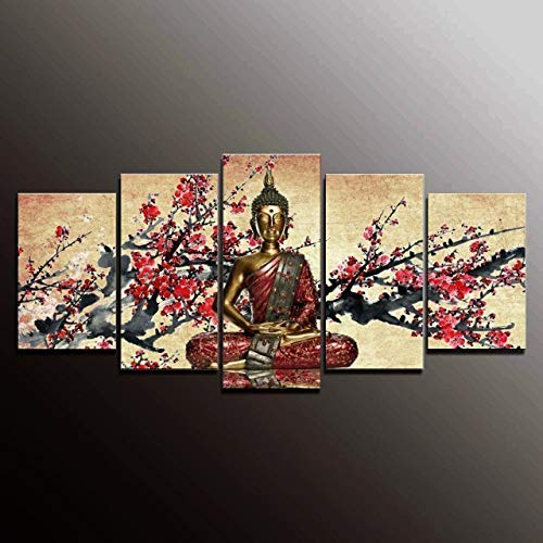 - Formarkor Art Cyber Monday Deal Christmas Gift Markorart-kx00339,5panel Canvas Art Buddha the Plum Blossom Picture Wall Panel Home Decorative Canvas Prints on Canvas