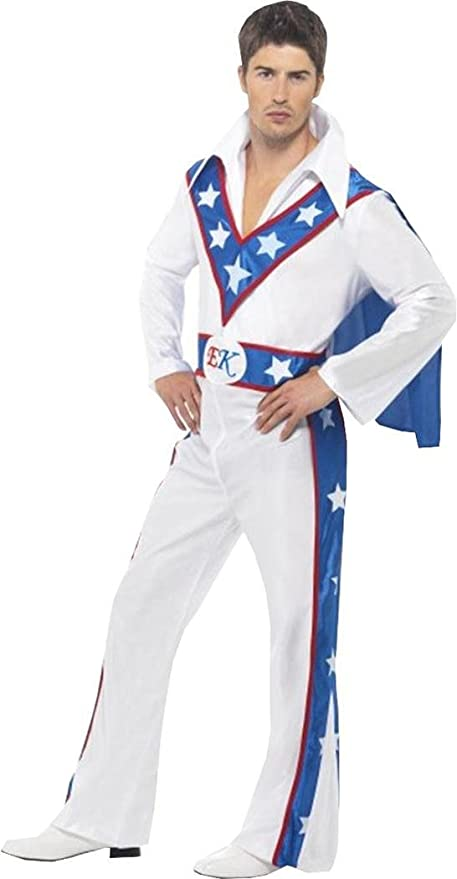 70s Costumes: Disco Costumes, Hippie Outfits Smiffys Mens Fancy Dress Party Stuntman Daredevil Evel Knievel Costume Outfit White $59.99 AT vintagedancer.com