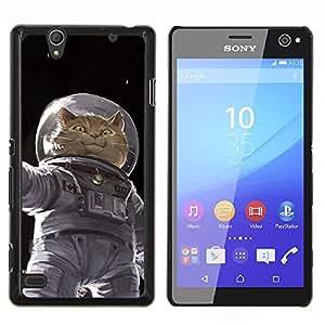YiPhone /// Prima de resorte delgada de la cubierta del caso de Shell Armor - Cosmonauta Astronauta Gatito Gato Espacial - Sony Xperia C4