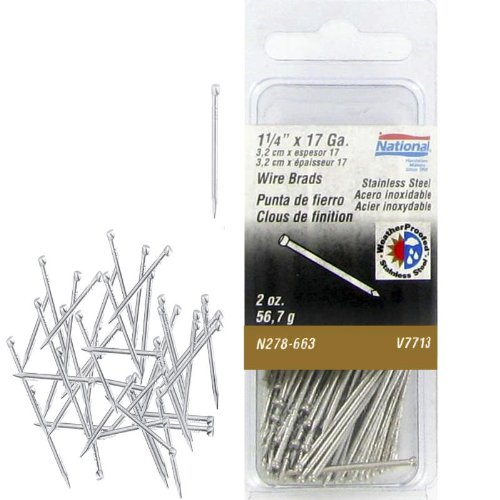 National Manufacturing N278-663 17 Gauge 1-1/4 Inch Stainless Steel Wire Brads 2 Oz. Package