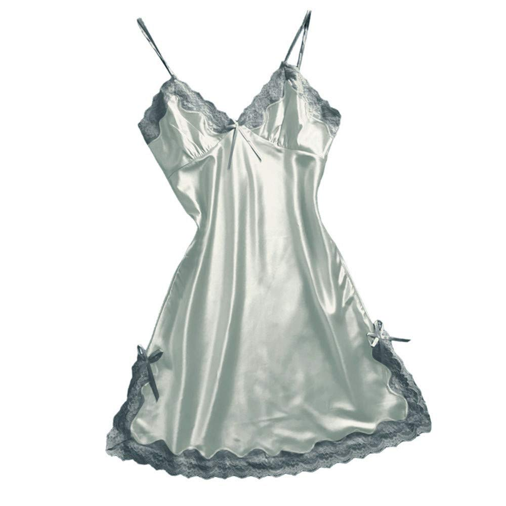 Psunrise Pijamas Women Satin Sexy Bowknot Lace Lingerie Babydoll V-Neck Solid Sleeveless Sling Sleepdress Underwear(3XL, Gray)