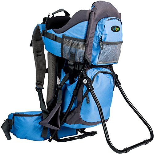 ClevrPlus Canyonero Camping Baby Backpack Hiking Kid Toddler Child Carrier with Stand and Sun Shade Visor, True Blue | 1 Year Limited Warranty