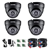 ZOSI 4 Pack 1080P Security Cameras 2.0MP 4-in-1 Mode Outdoor Indoor with 3.6mm 24PCS Infrared IR Lens Day Night CCTV IR Cut Surveillance Security Camera Black TVI/CVI/AHD/CVBS 960H Analog