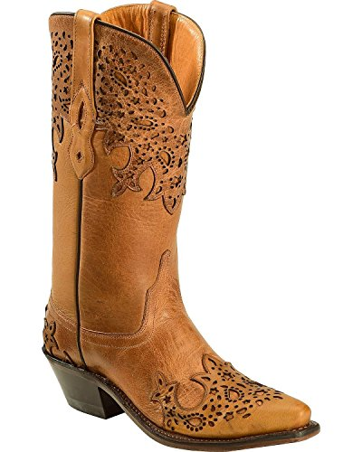 Old West Tan Womens Overlay Leather 12in Fancy Cowboy Boots Boots 6.5 B