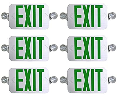 6 Pack Supreme LED All LED Decorative Green White Exit Sign & Emergency Light Combo with Battery Backup (6 Pack)
