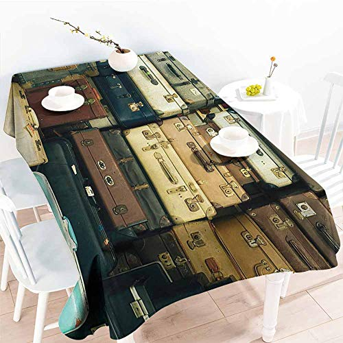 (Homrkey Easy Care Tablecloth Vintage Decor Collection Colorful Vintage Suitcase Antique Leather Decorative Travel Gift Map Nostalgia Brown Cream Green Picnic W60 xL102)